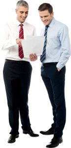 Sales Manger and Salesman smiling whilst looking at sales KPI and close more deals